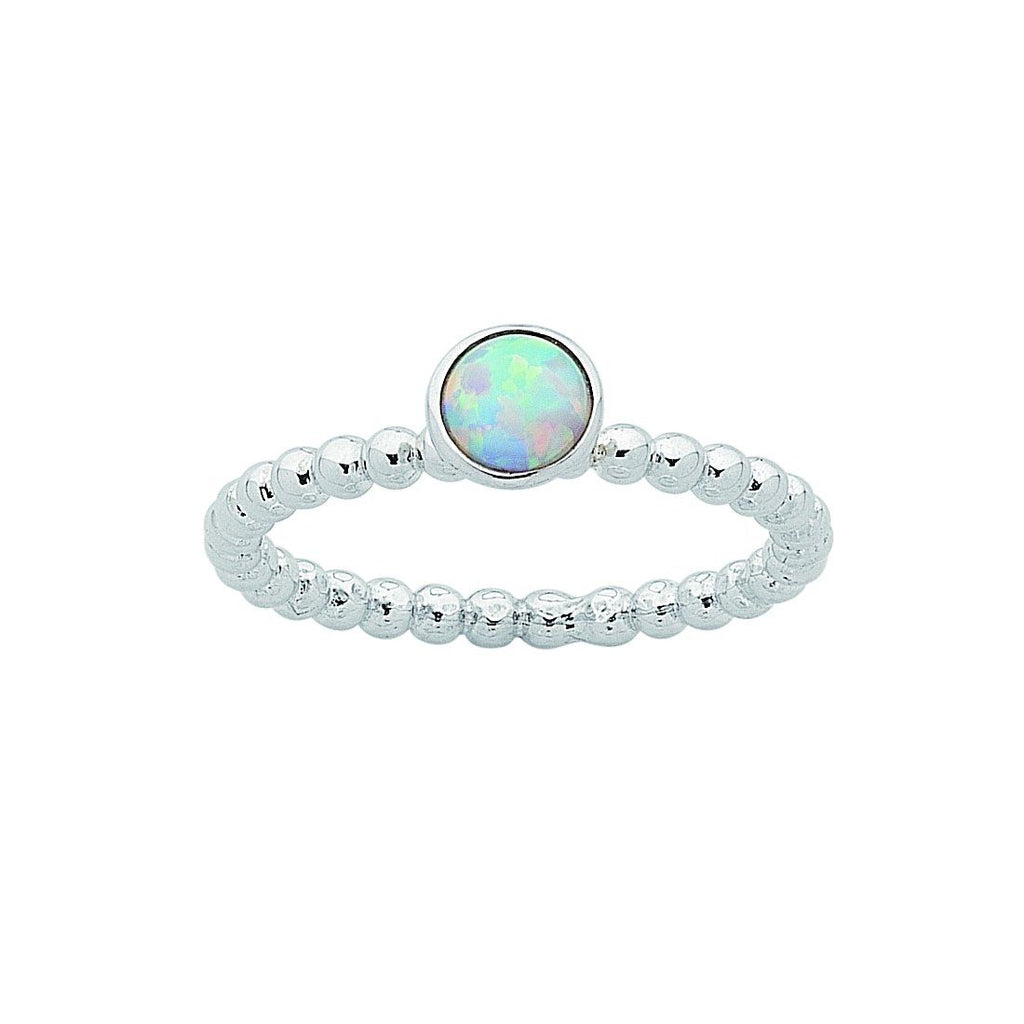 Sterling Silver Synthetic Opal Stackable Ring