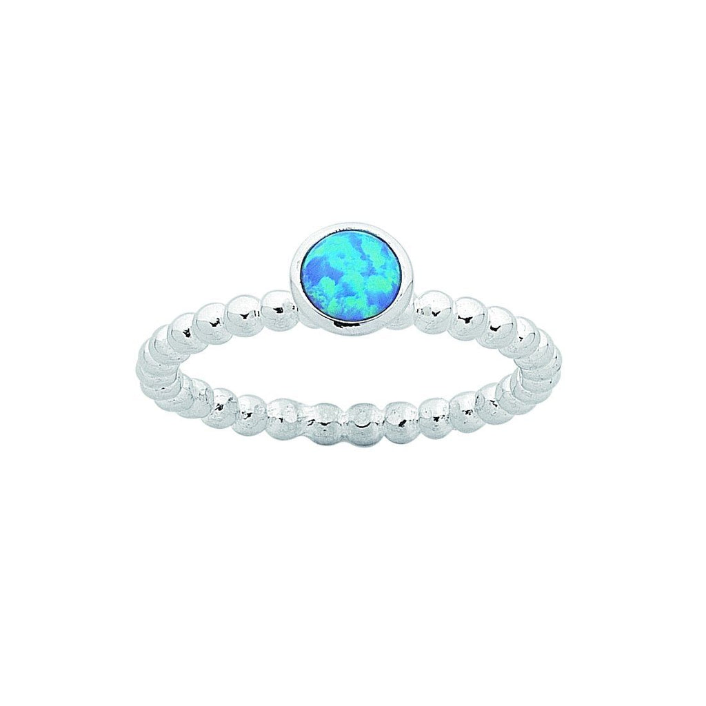 Sterling Silver Synthetic Blue Opal Stackable Ring