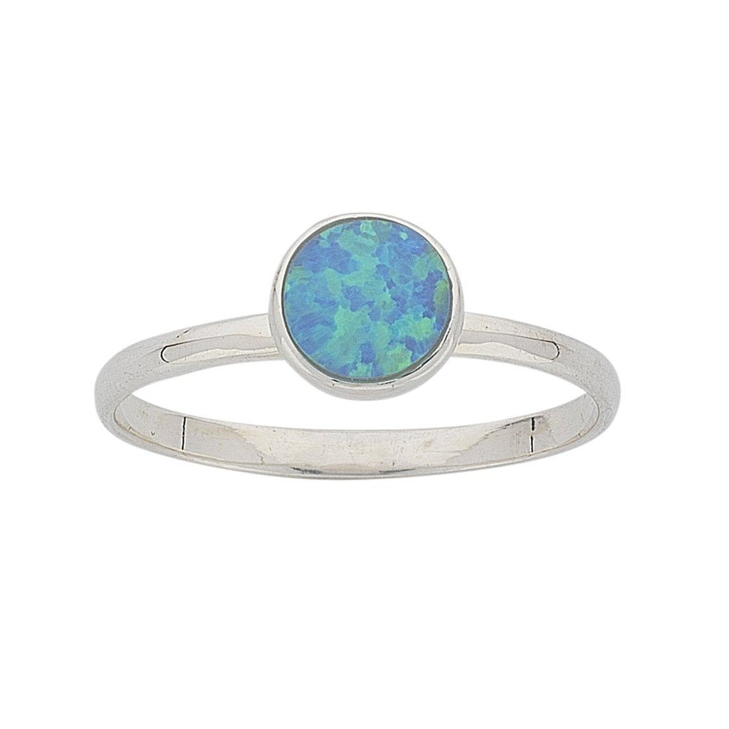 Sterling Silver Synthetic Blue Opal Ring Rings Bevilles
