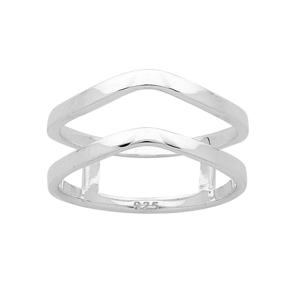 Sterling Silver Double V Ring Rings Bevilles