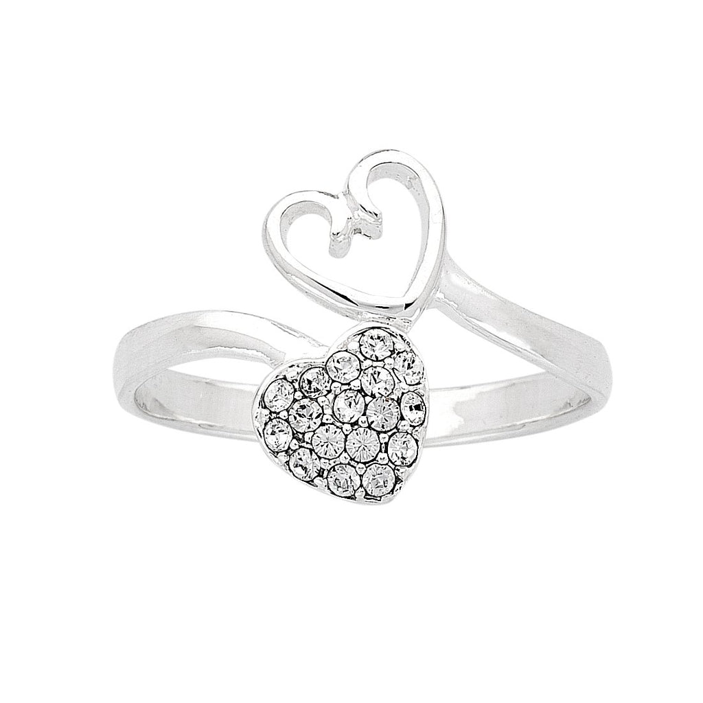 Sterling Silver Double Heart Cubic Zirconia Ring