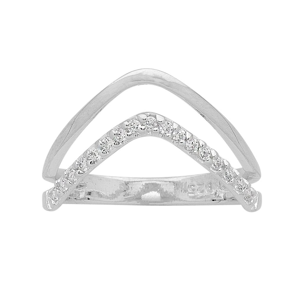 Sterling Silver Double V Cubic Zirconia Ring