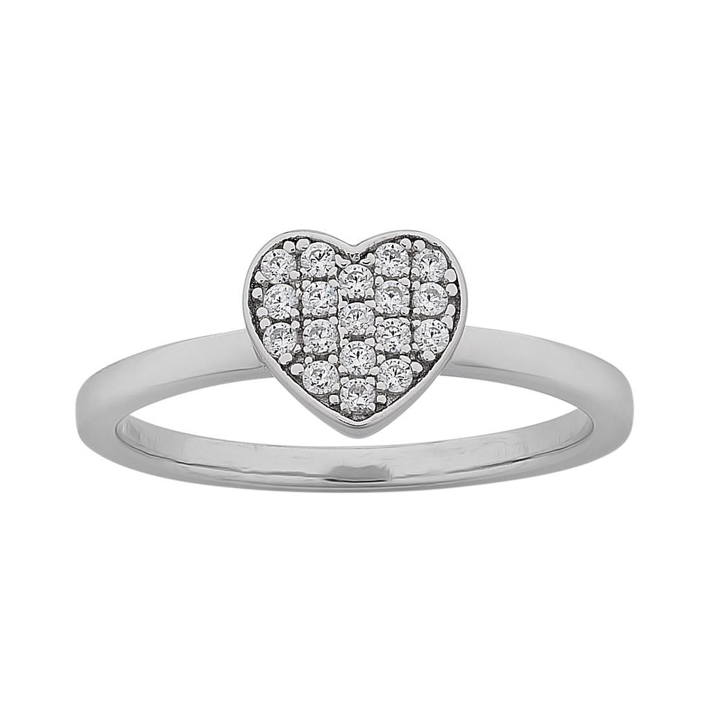 Sterling Silver Cubic Zirconia Pave Heart Stackable Ring