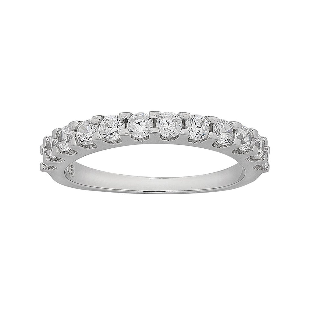 Sterling Silver Cubic Zirconia Band Ring Rings Bevilles