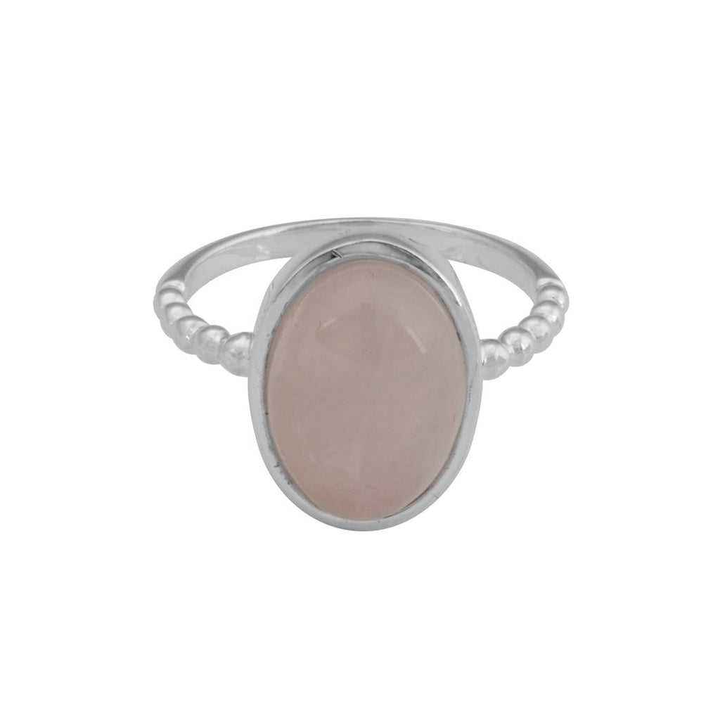 Sterling Silver Oval Rose Quartz Stackable Ring Rings Bevilles
