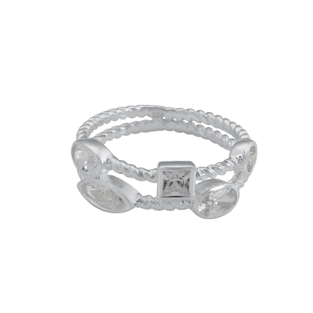 Sterling Silver White Cubic Zirconia Stackable Ring