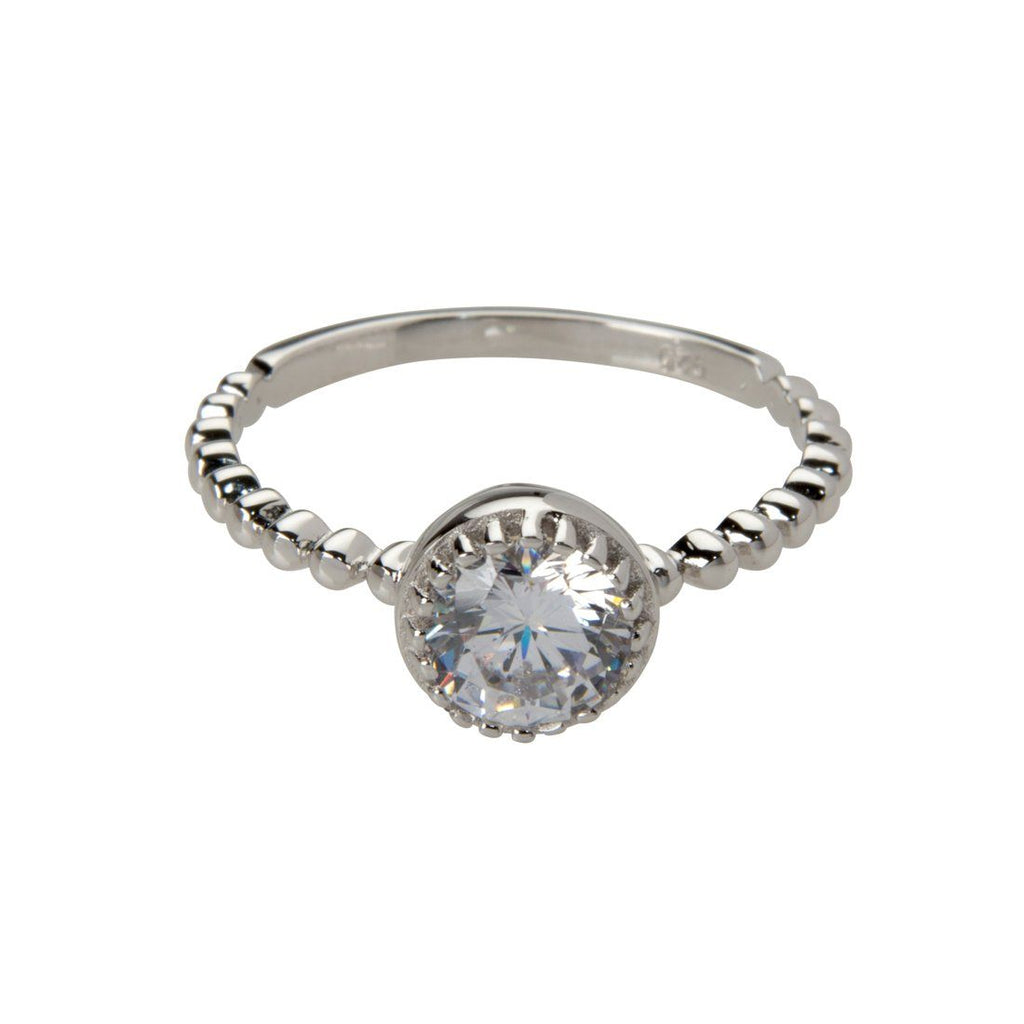 Sterling Silver White Cubic Zirconia Detail Stackable Ring