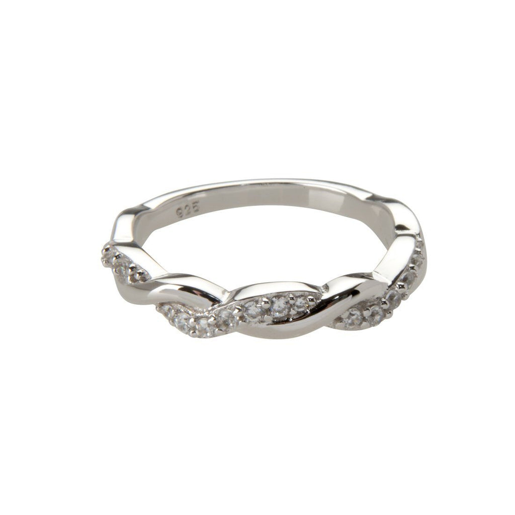 Sterling Silver Cubic Zirconia Twist Stackable Ring