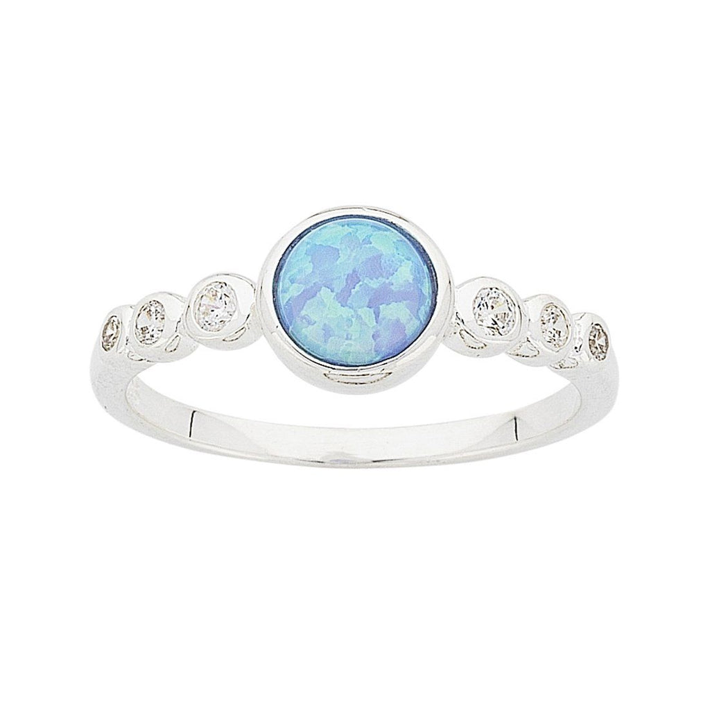 Sterling Silver Synthetic Blue Opal Cubic Zirconia Ring Rings Bevilles