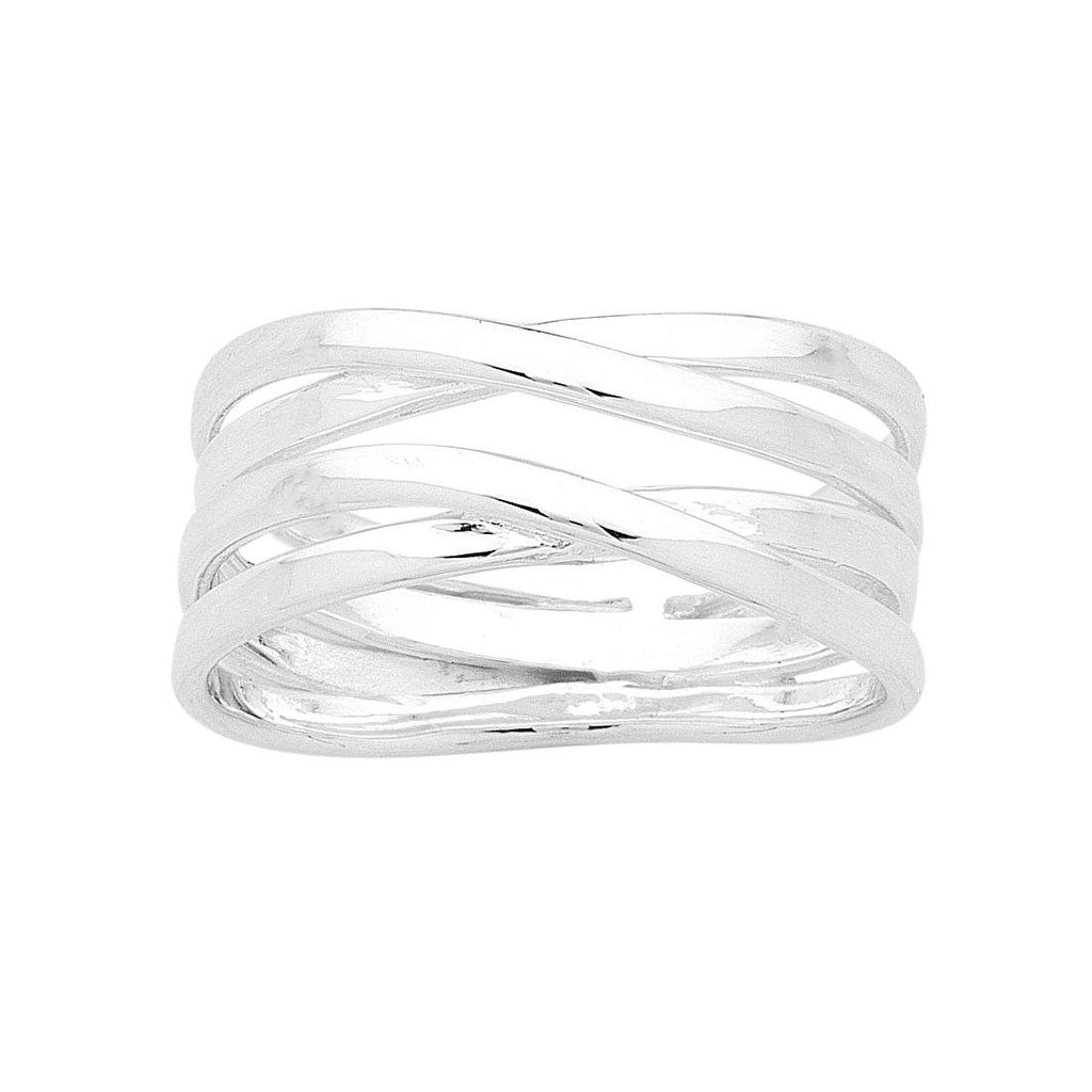 Sterling Silver Double Crossover Ring Rings Bevilles