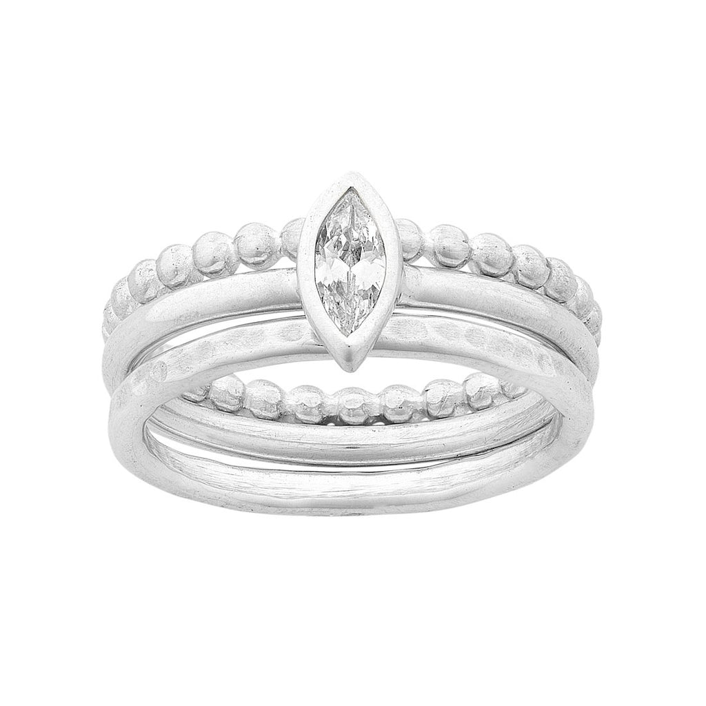 Sterling Silver 3 Band Ring with Cubic Zirconia