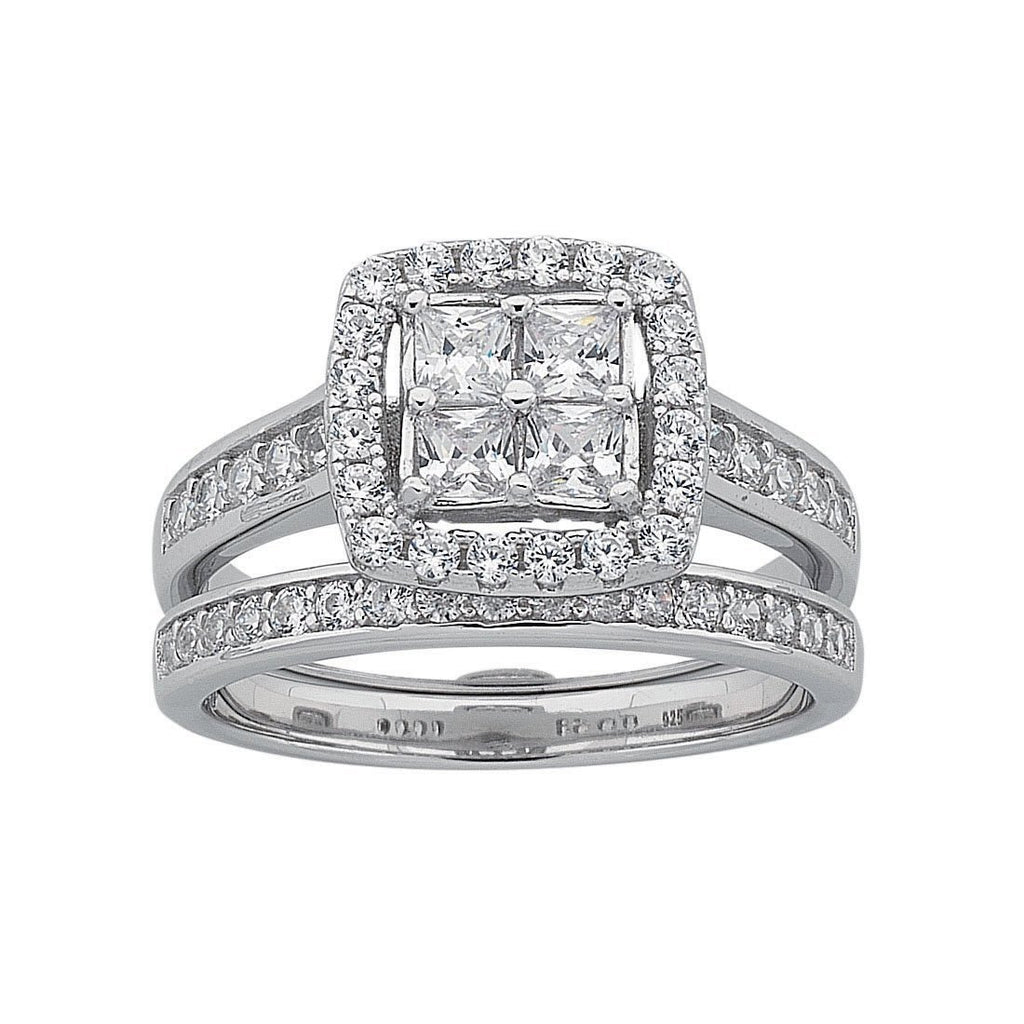 Sterling Silver Cubic Zirconia Invisible Princess Ring Set