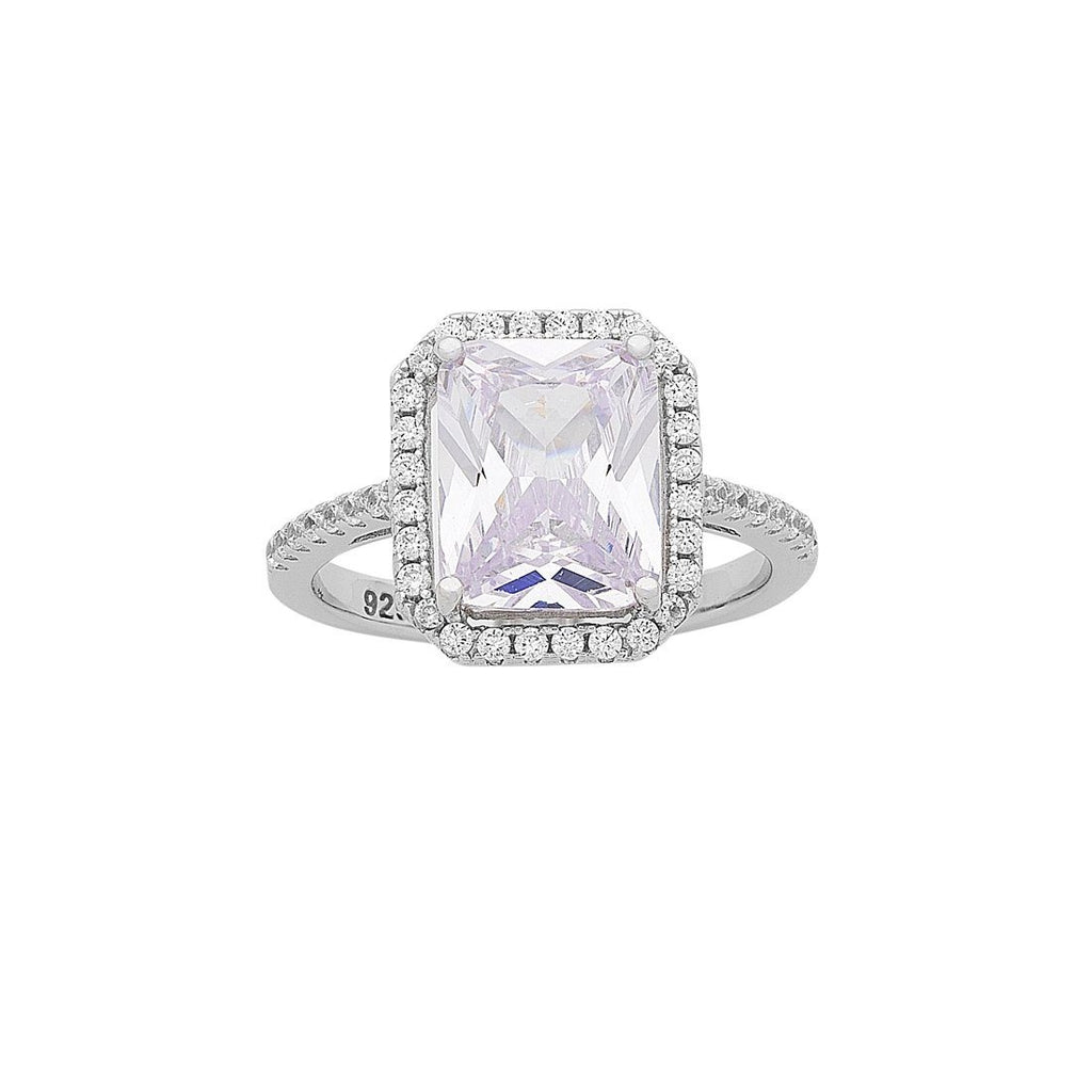 Sterling Silver Radiant Cubic Zirconia Halo Claw Ring