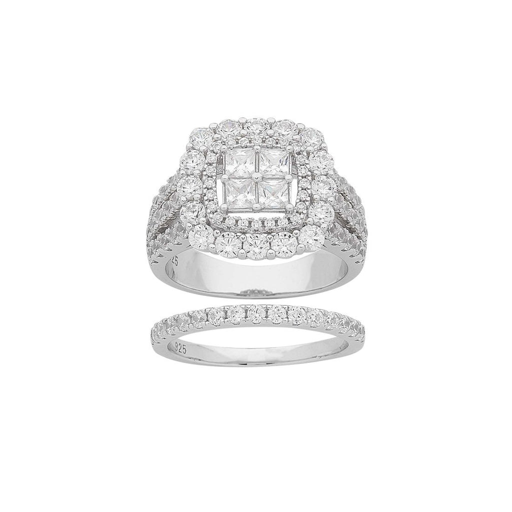 Sterling Silver Cubic Zirconia Invisible Princess Ring Set Rings Bevilles