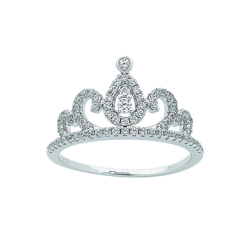 Sterling Silver Cubic Zirconia Princess Tiara Ring