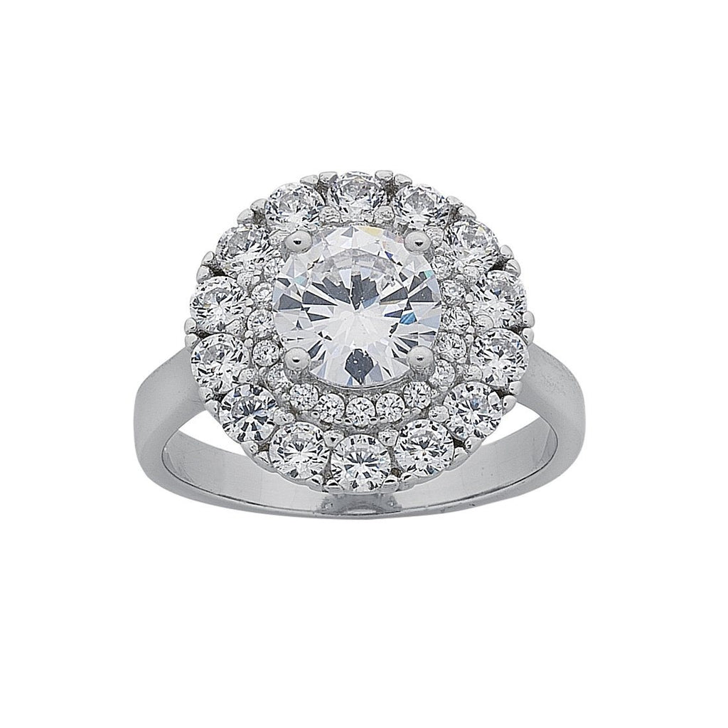 Sterling Silver Cubic Zirconia Large Double Halo Ring