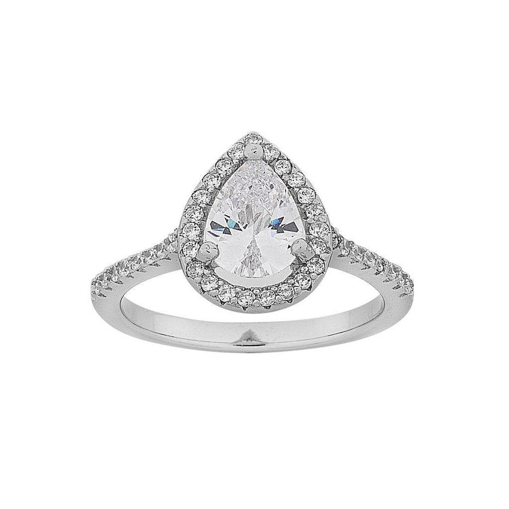 Sterling Silver Pear Cubic Zirconia Halo Ring
