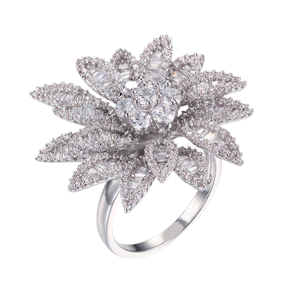 Sterling Silver Cubic Zirconia Fancy Flower Ring Rings Bevilles