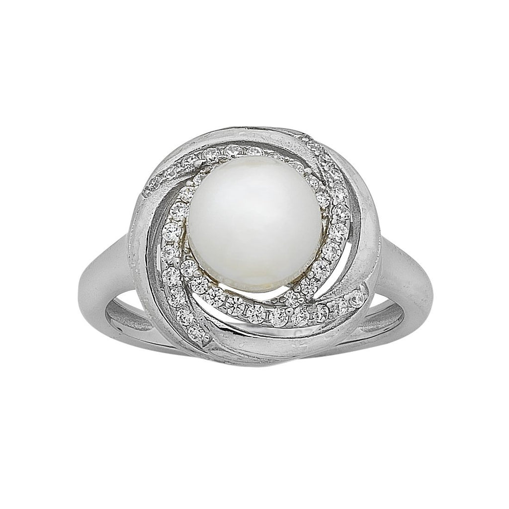 Sterling Silver Pearl and Cubic Zirconia Swirl Ring