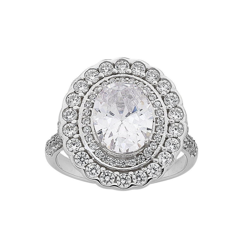Sterling Silver Cubic Zirconia Oval Double Halo Ring