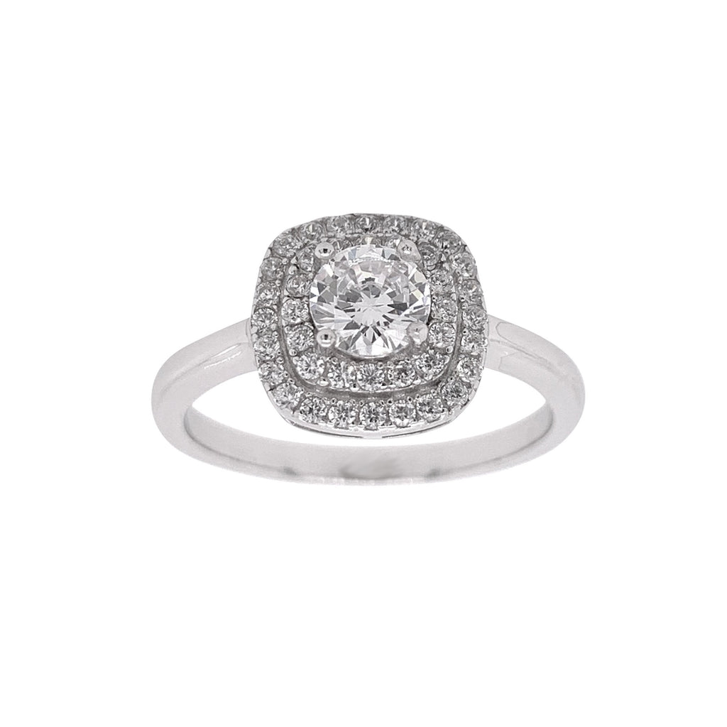 Sterling Silver Cubic Zirconia Double Halo Ring