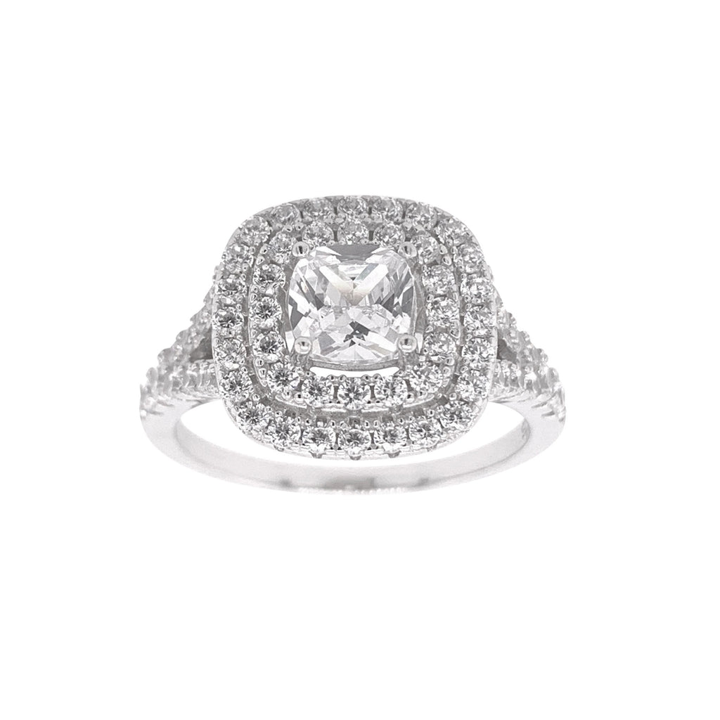 Sterling Silver Cubic Zirconia Cushion Double Halo Ring