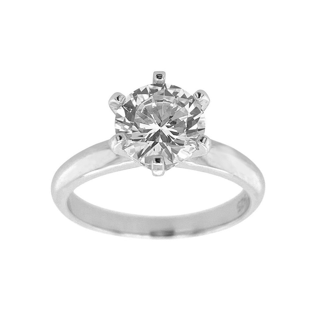 Sterling Silver Cubic Zirconia 7.5mm Solitaire Ring