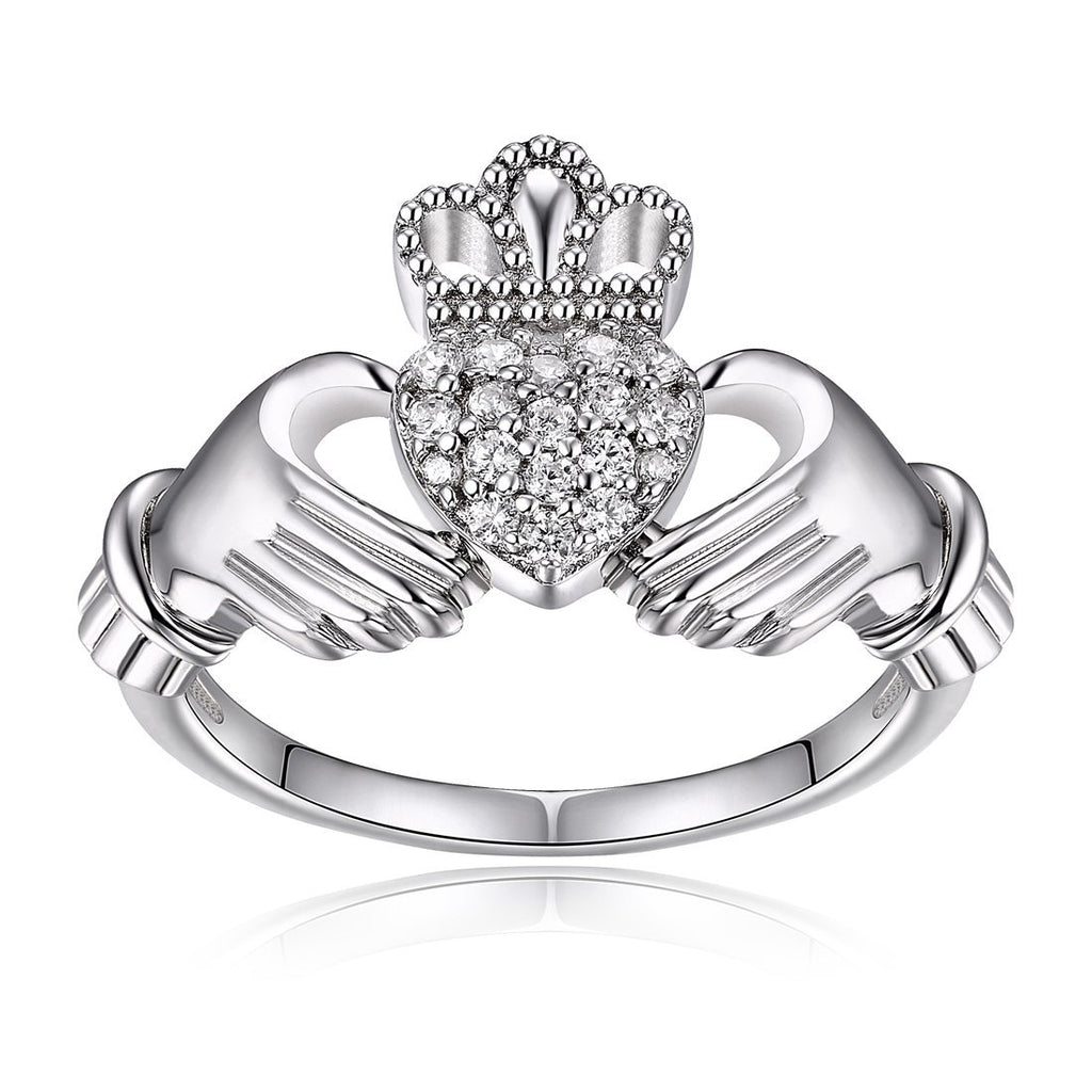 Sterling Silver Claddagh Ring with Cubic Zirconias