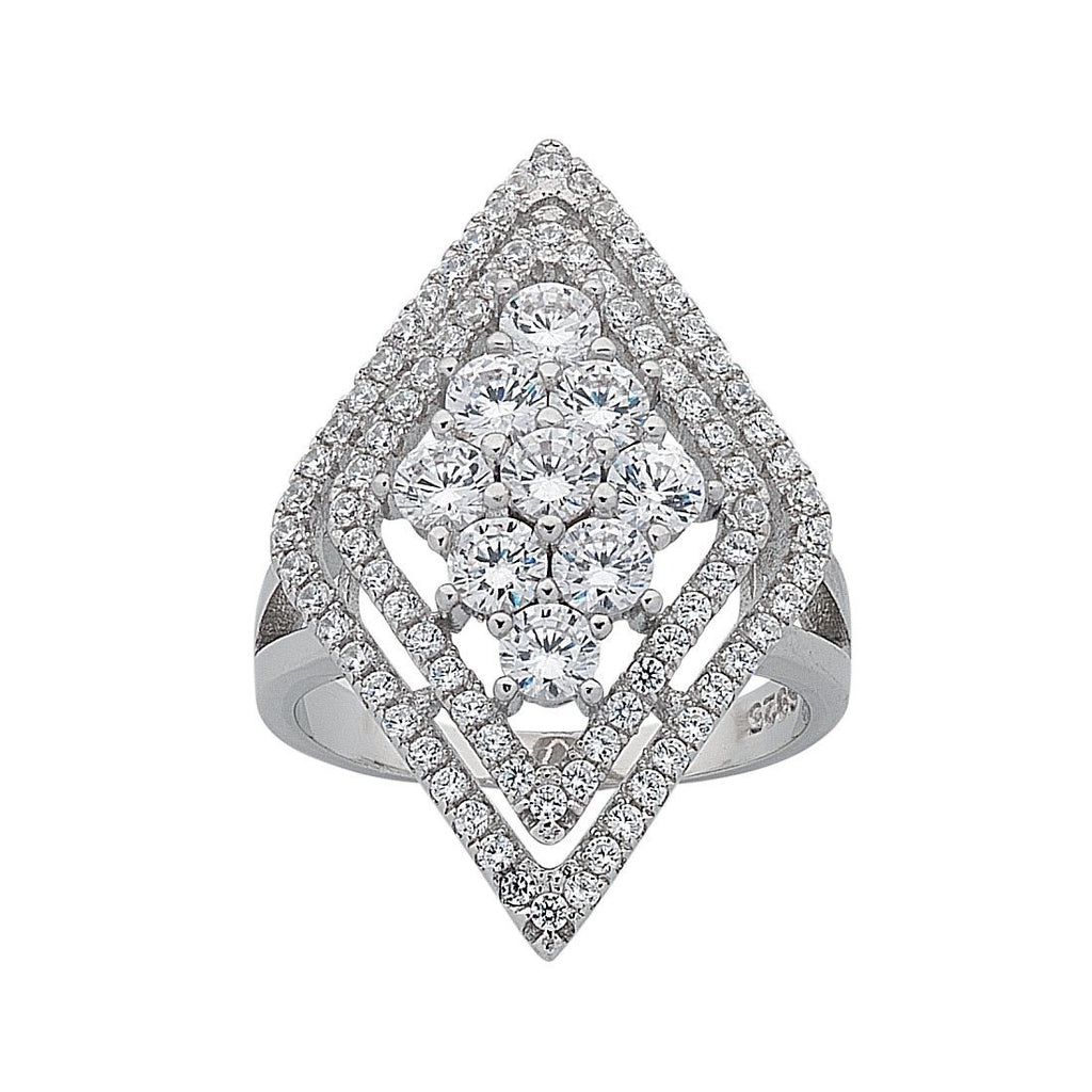 Sterling Silver Cubic Zirconia Diamond Shape Ring
