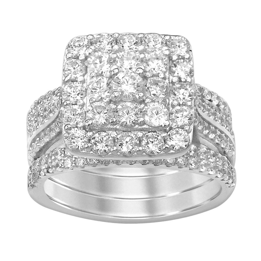 Sterling Silver Cubic Zirconia Square Cluster Ring Set Rings Bevilles