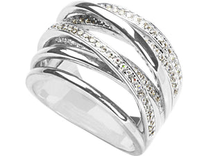 Sterling Silver Cubic Zirconia Stacked Ring