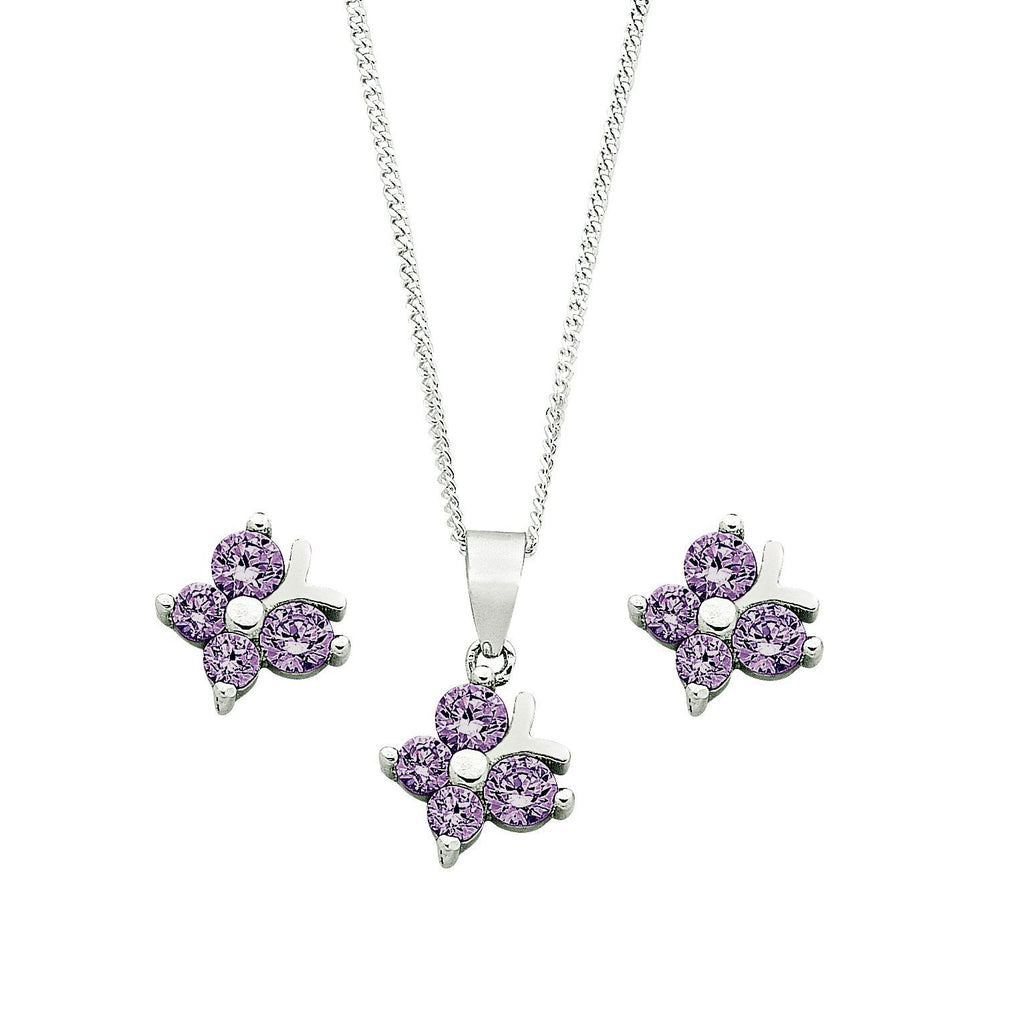 Children's Sterling Silver Purple Butterfly Earring & Necklace Set Jewellery Sets Bevilles