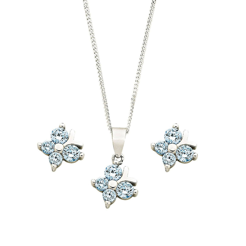 Children's Sterling Silver Blue Butterfly Earring & Necklace Set Necklaces Bevilles