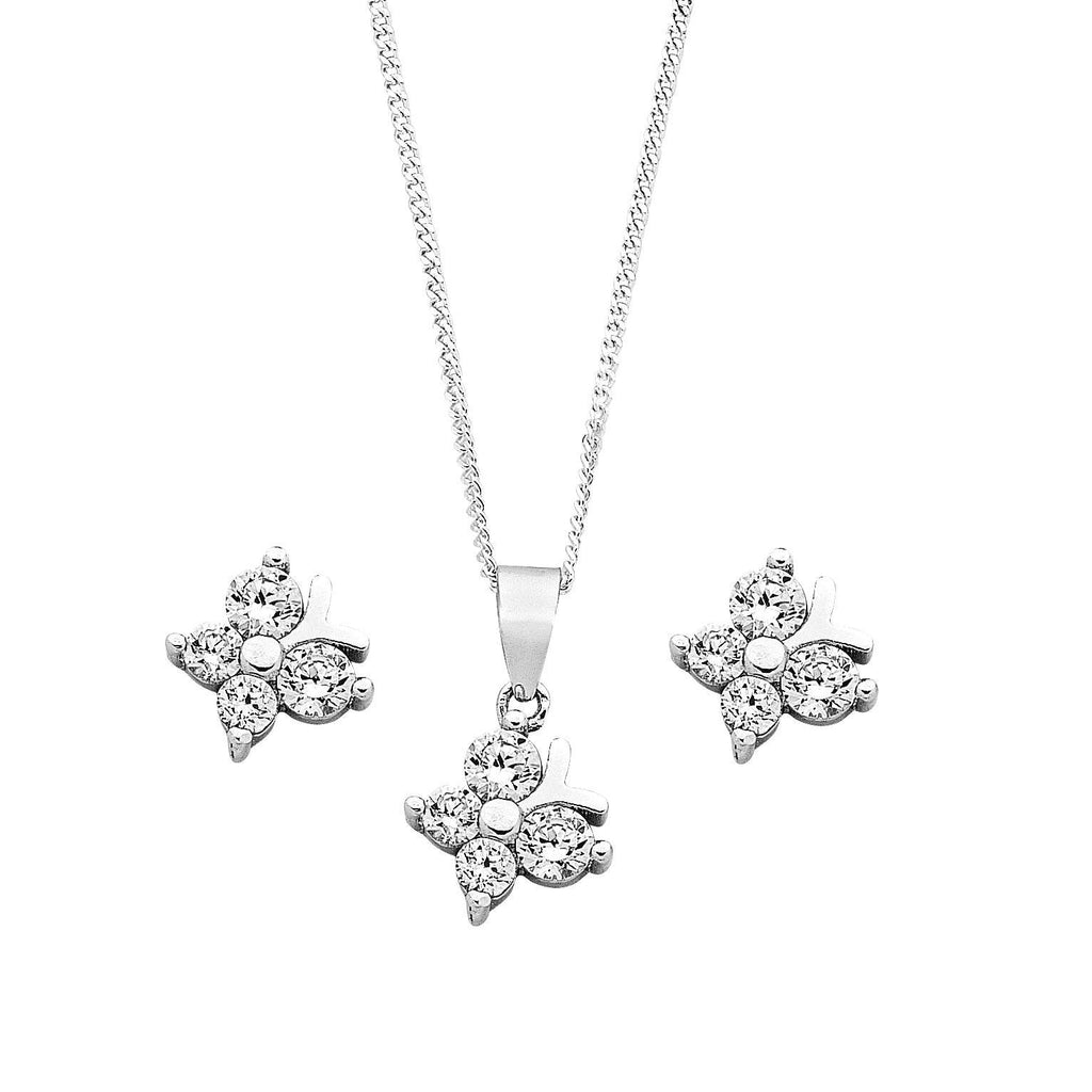 Children's Sterling Silver Butterfly Necklace & Earring Set Necklaces Bevilles