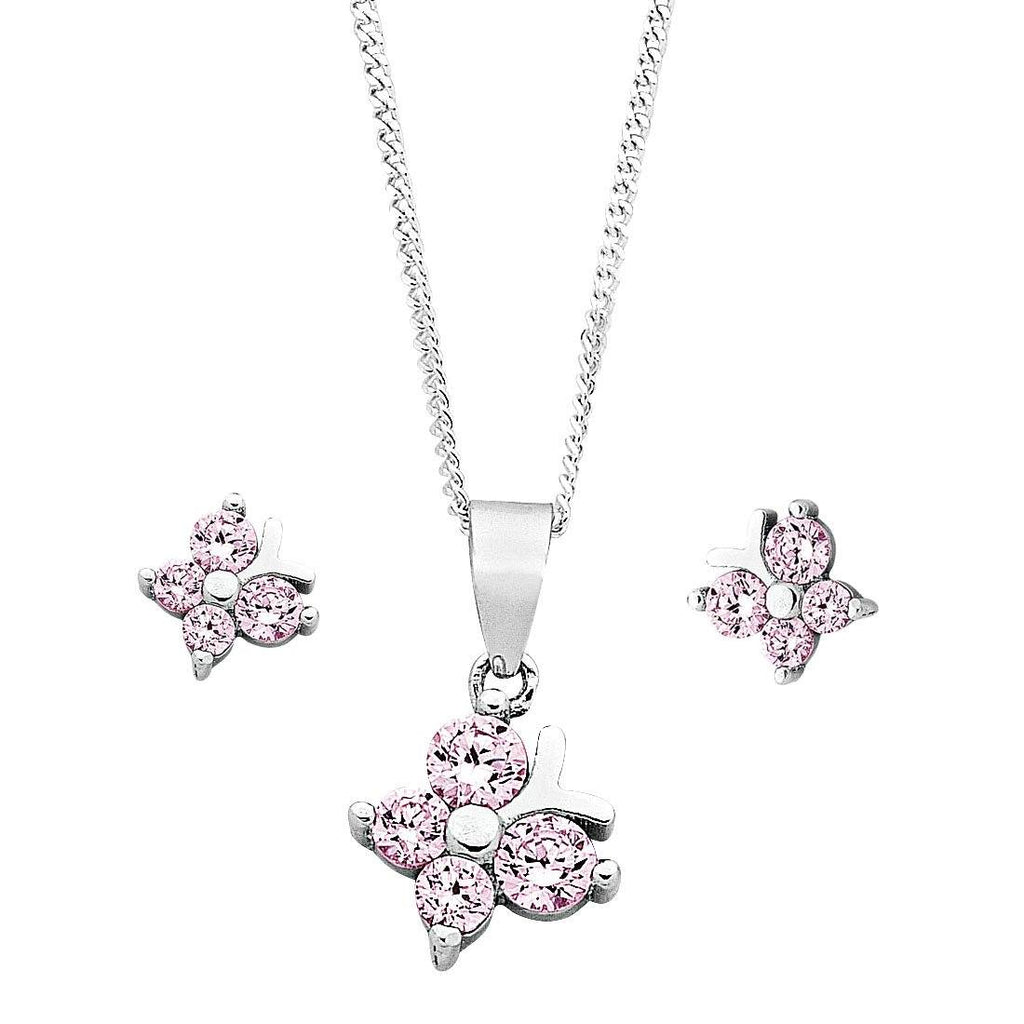 Children's Sterling Silver Pink Butterfly Earring & Necklace Set Necklaces Bevilles