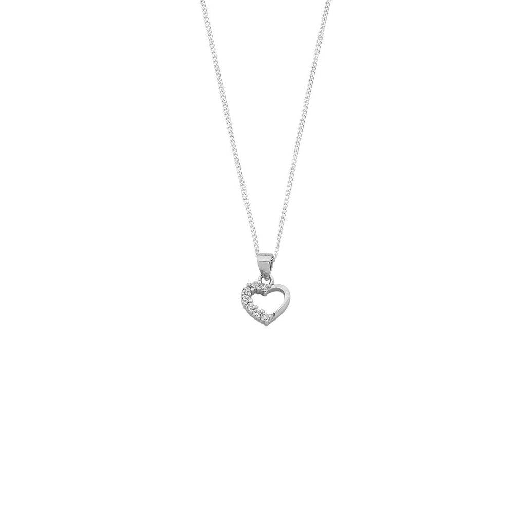 Children's Sterling Silver Cubic Zirconia Heart Necklace Necklaces Bevilles