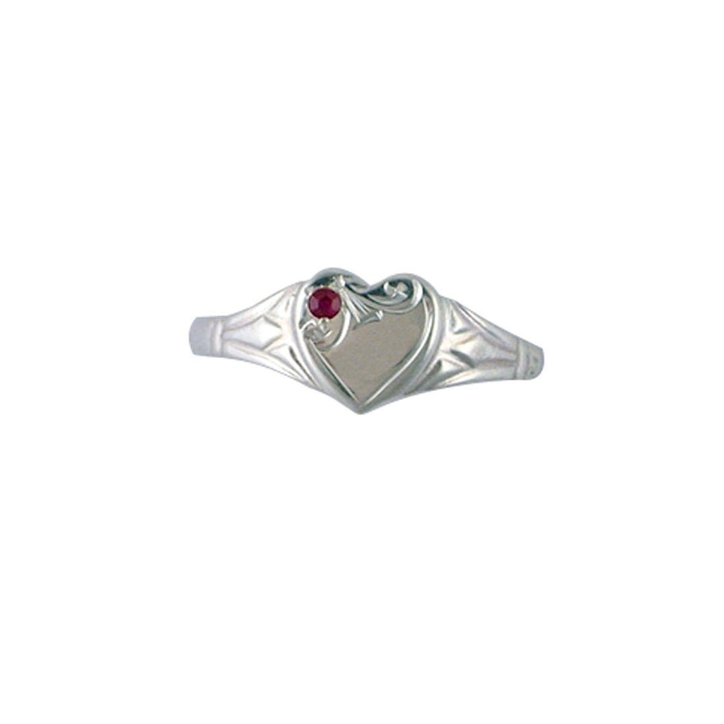 Children's Sterling Silver Heart Red Signet Ring