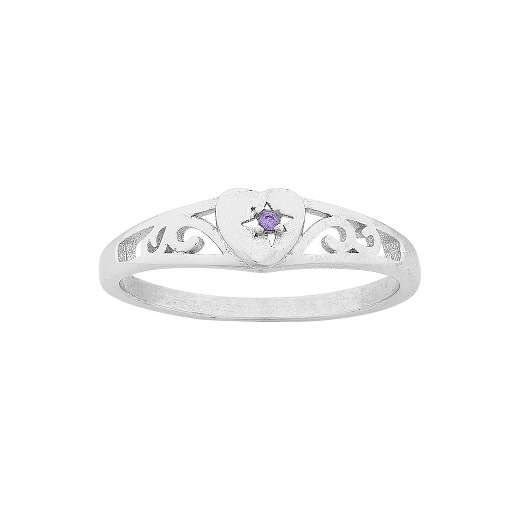 Children's Sterling Silver Purple Heart Filigree Signet Ring Rings Bevilles