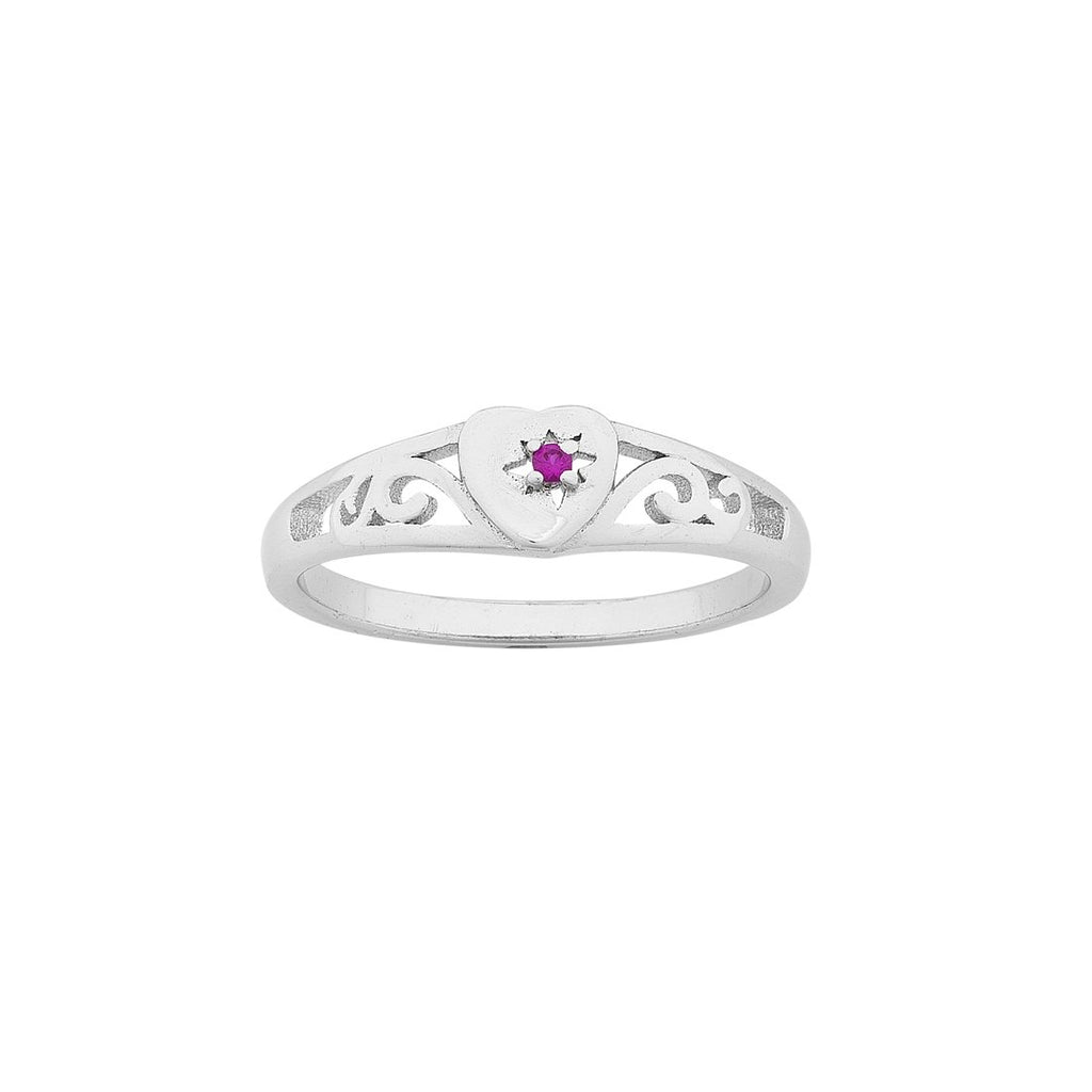 Children's Sterling Silver Pink Heart Filigree Signet Ring