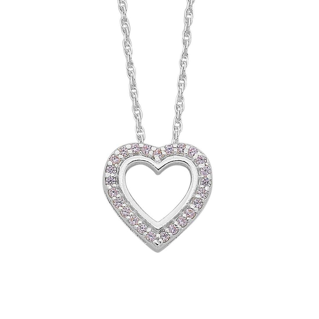 Children's Sterling Silver Open Heart Pink Cubic Zirconia Necklace Necklaces Bevilles