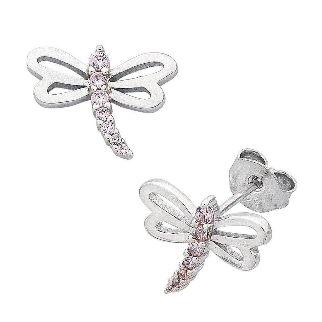 Children's Sterling Silver Pink Cubic Zirconia Dragonfly Earrings Earrings Bevilles