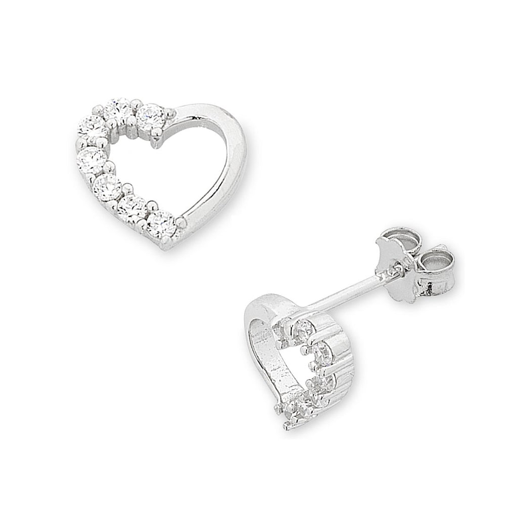 Children's Sterling Silver Open Heart Cubic Zirconia Earrings Earrings Bevilles