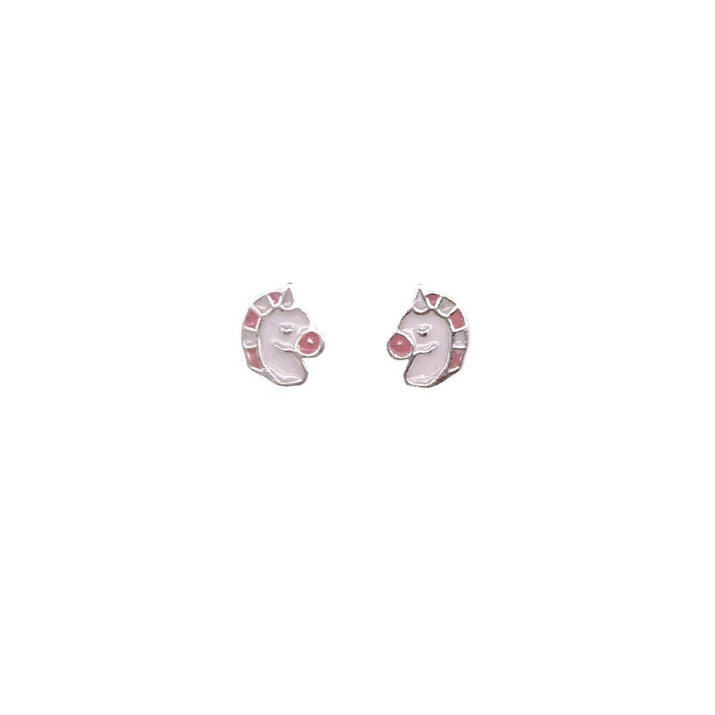 Children's Sterling Silver Pink & White Unicorn Earrings