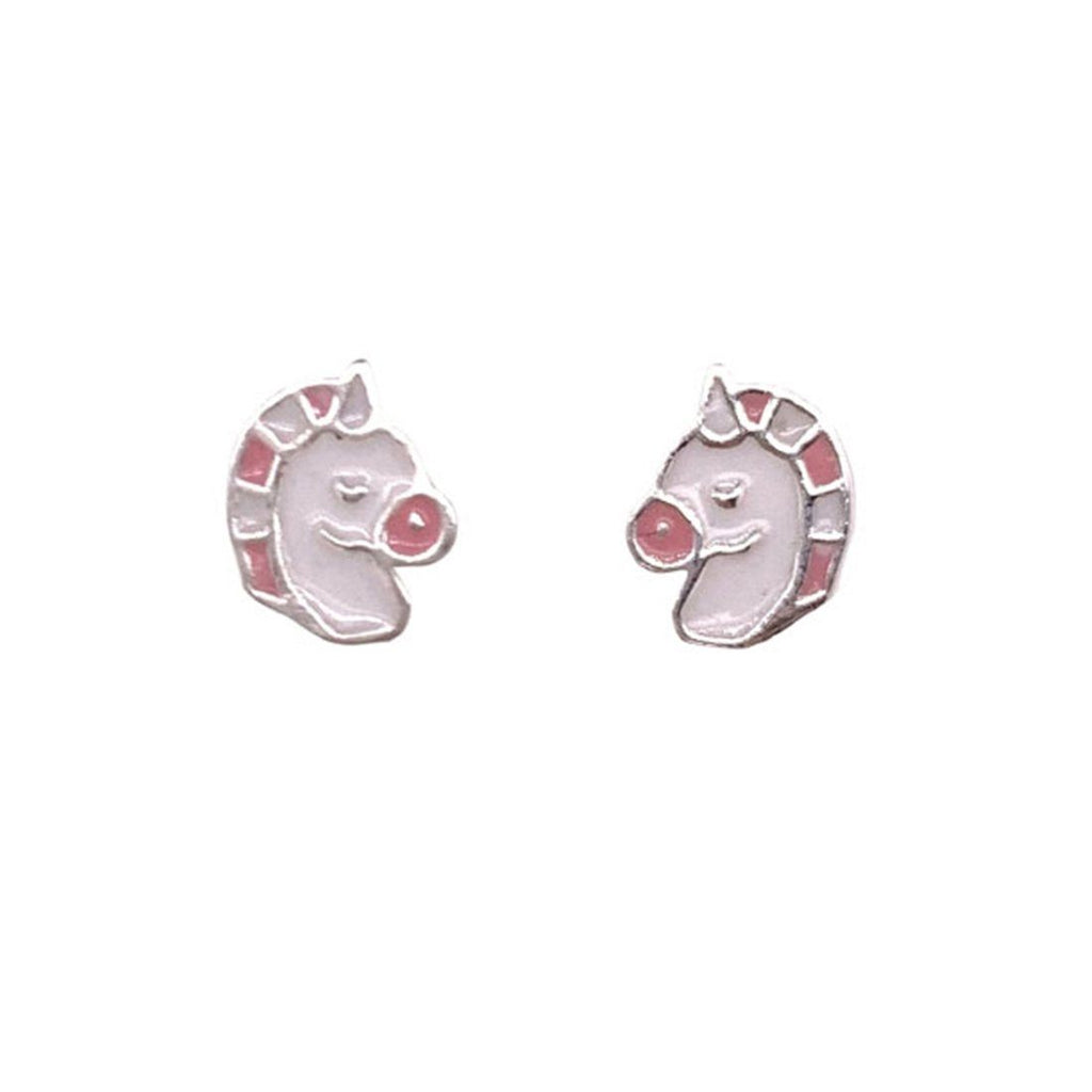 Children's Sterling Silver Pink & White Unicorn Earrings Earrings Bevilles
