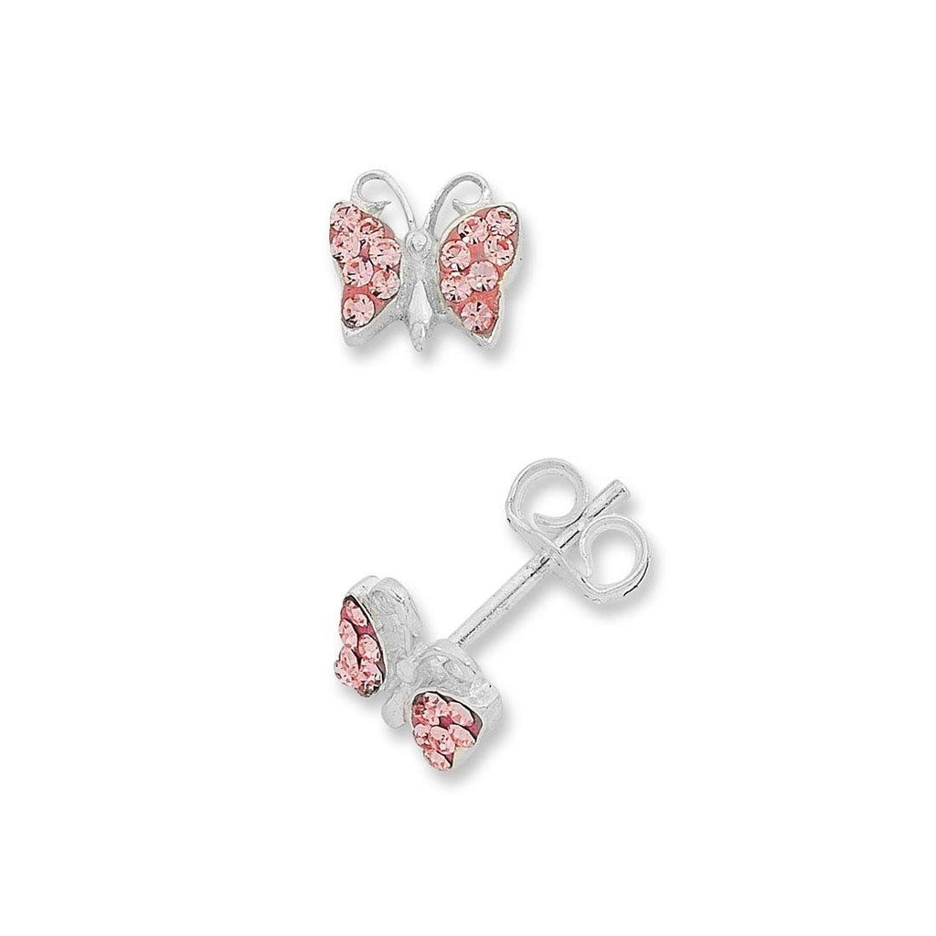Children's Sterling Silver Pink Crystal Butterfly Stud Earrings
