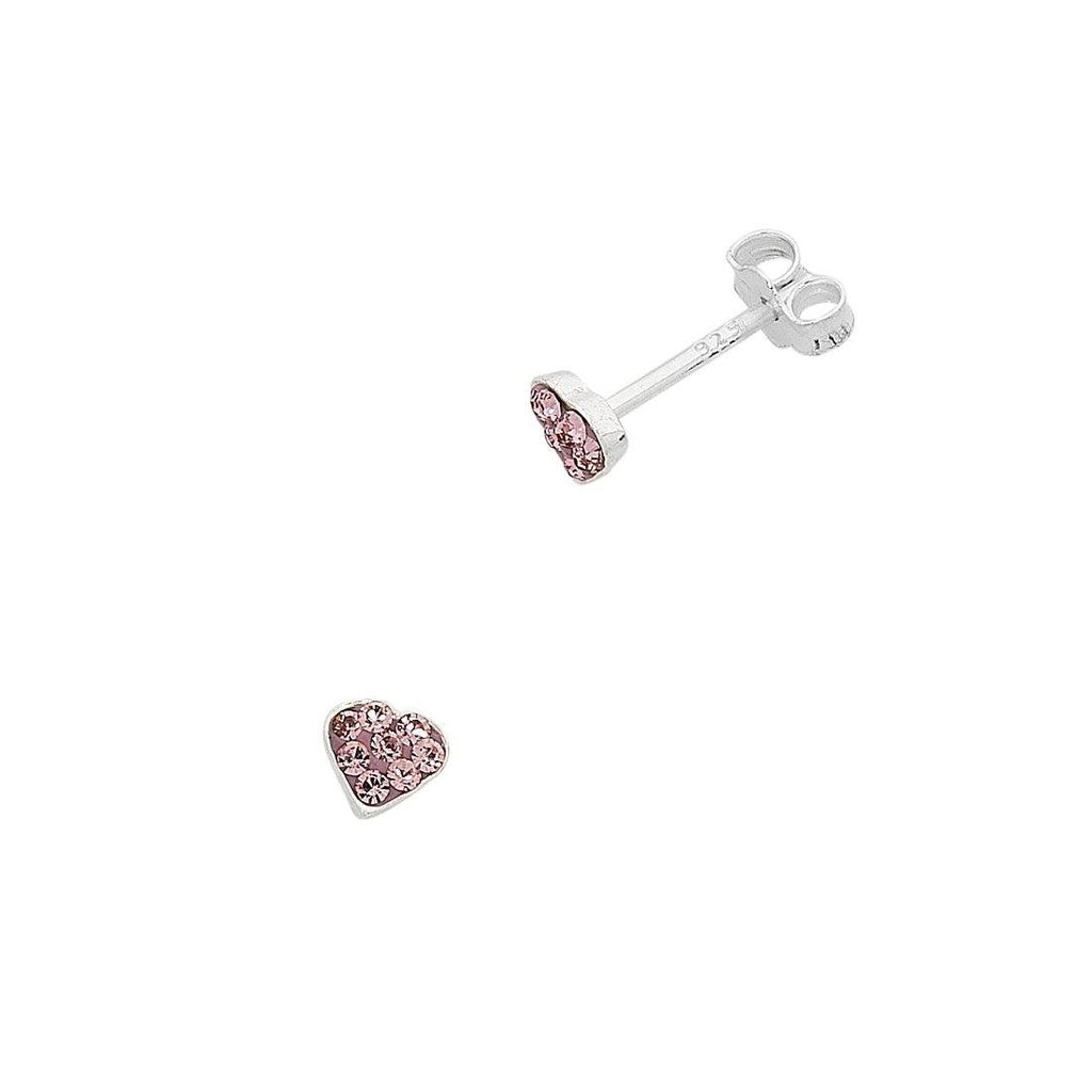 Children's Sterling Silver Pink Crystal Heart Stud Earrings Earrings Bevilles