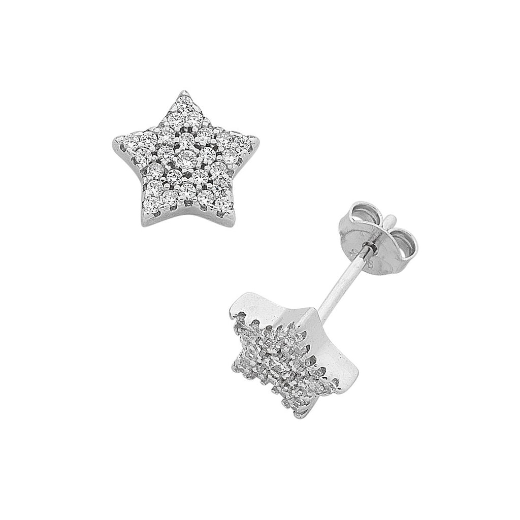 Children's Sterling Silver Cubic Zirconia Star Stud Earrings