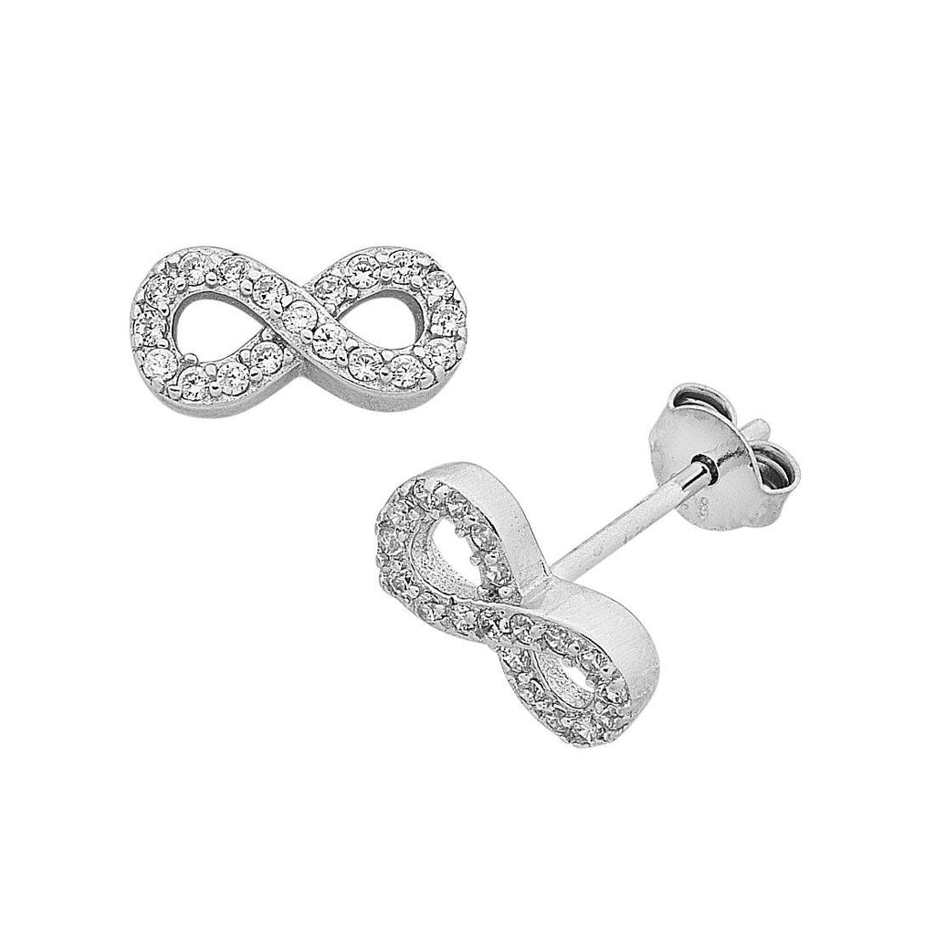 Children's Sterling Silver Cubic Zirconia Infinity Stud Earrings Earrings Bevilles