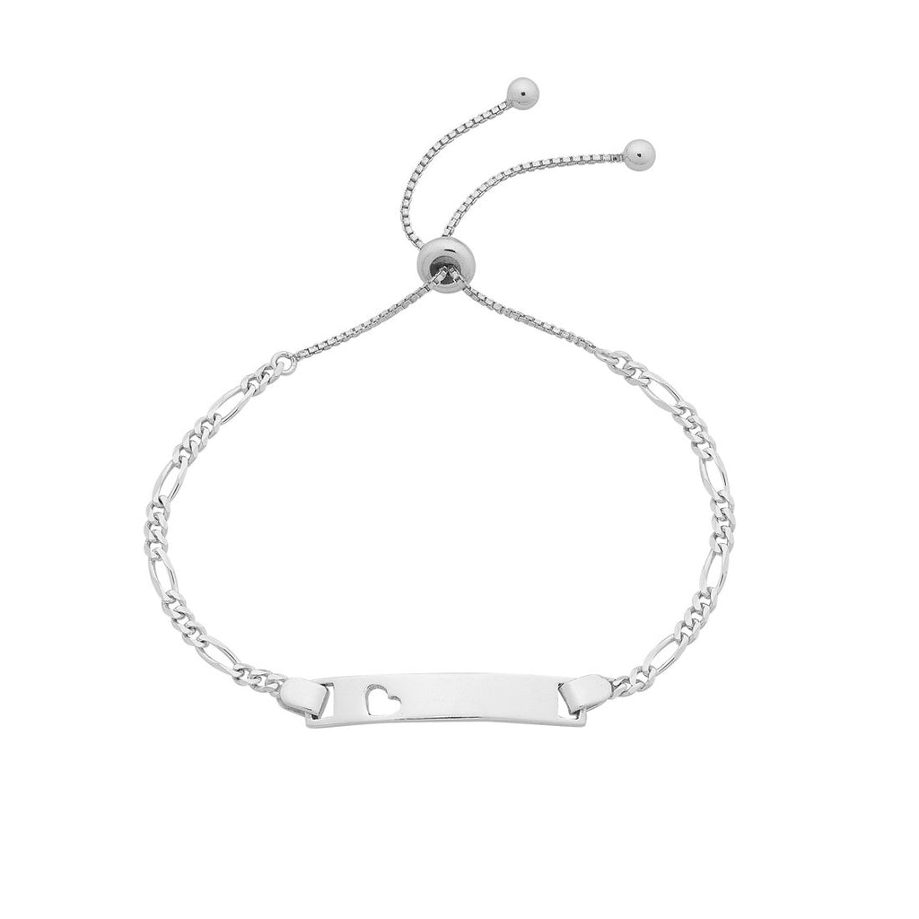 Children's Sterling Silver Bolo ID Bracelet with Heart 16cm