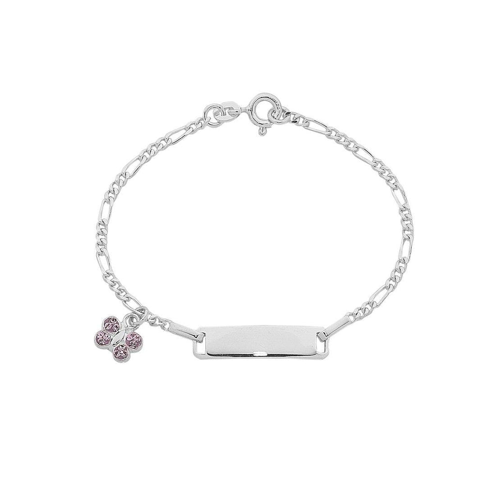 Children's Sterling Silver ID Bracelet with Butterfly Charm